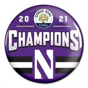 "Northwestern University Wildcats Citrus Bowl 2021 Champions 3"" Buttons"
