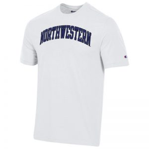 Northwestern University Wildcats Men's White Short Sleeve Tee Shirt with Vintage Appliqué Arched Northwestern Design-2