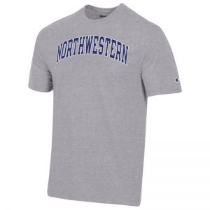 Northwestern University Wildcats Men's Heritage Grey Short Sleeve Tee Shirt with Vintage Appliqué Arched Northwestern Design