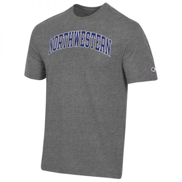 Northwestern University Wildcats Men's Granite Heather Short Sleeve Tee Shirt with Vintage Appliqué Arched Northwestern Design -2