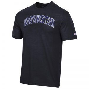 Northwestern University Wildcats Men's Black Short Sleeve Tee Shirt with Vintage Appliqué Arched Northwestern Design