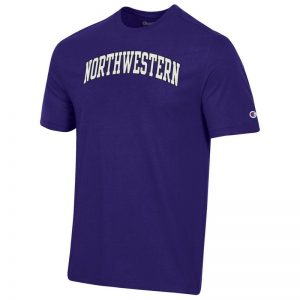 Northwestern University Wildcats Men's Purple Short Sleeve Tee Shirt with Vintage Appliqué Arched Northwestern Design -2