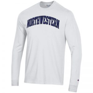 Northwestern University Wildcats Men's White Long Sleeve Tee Shirt with Vintage Appliqué Arched Northwestern Design