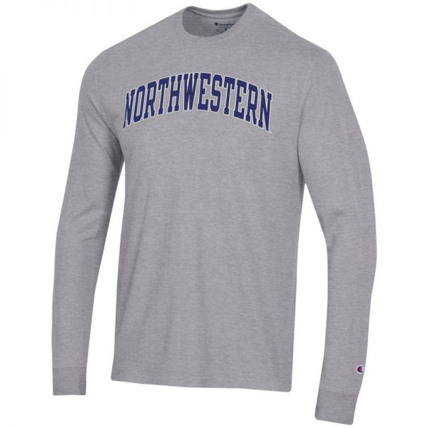 Northwestern University Wildcats Men's Heritage Grey Long Sleeve Tee Shirt with Vintage Appliqué Arched Northwestern Design