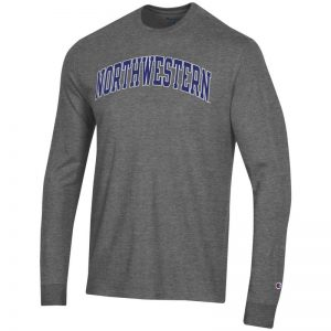 Northwestern University Wildcats Men's Granite Heather Long Sleeve Tee Shirt with Vintage Appliqué Arched Northwestern Design