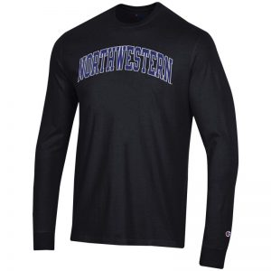 Northwestern University Wildcats Men's Black Long Sleeve Tee Shirt with Vintage Appliqué Arched Northwestern Design