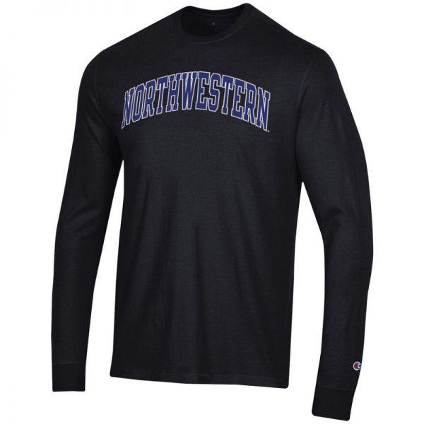 Northwestern University Wildcats Men's Black Long Sleeve Tee Shirt with Vintage Appliqué Arched Northwestern Design