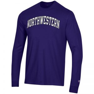 Northwestern University Wildcats Men's Purple Long Sleeve Tee Shirt with Vintage Appliqué Arched Northwestern Design