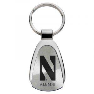 Northwestern University Wildcats Laser Engraved Silver Teardrop Key Chain with Stylized N & Alumni Design