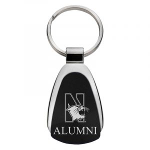 Northwestern University Wildcats Laser Engraved Black Teardrop Key Chain with N-Cat & Alumni Design