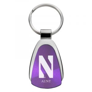 Northwestern University Wildcats Laser Engraved Purple Teardrop Keychain with Stylized N & Aunt Design
