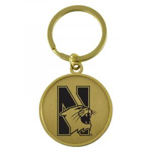 Northwestern University Wildcats Laser Engraved Gold Circular Contemporary Metal Keychain with N-Cat Design