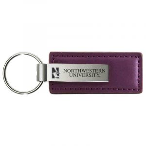 Northwestern University Wildcats Laser Engraved Purple Leather & Metal Keychain with N-Cat & Northwestern University Design