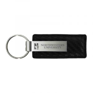 Northwestern University Wildcats Laser Engraved Black Leather & Metal Keychain with N-Cat & Northwestern University Design