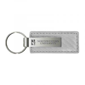Northwestern University Wildcats Laser Engraved White Leather & Metal Keychain with N-Cat & Northwestern University Design
