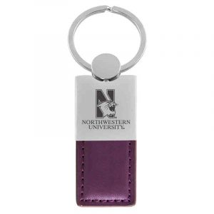 Northwestern University Wildcats Laser Engraved Purple Leather Keychain with N-Cat & Northwestern University Design
