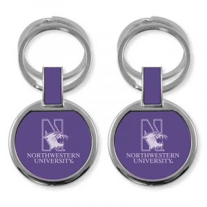 Northwestern University Wildcats Laser Engraved Purple Double Ring Keychain with N-Cat & Northwestern University Design