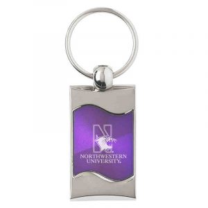 Northwestern University Wildcats Laser Engraved Purple Wave Keychain with N-Cat & Northwestern University Design