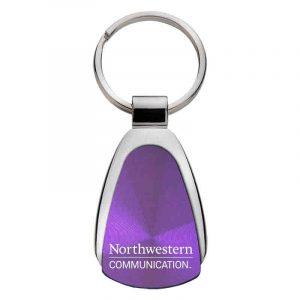 Northwestern University Wildcats Laser Engraved Purple Teardrop Keychain with School of Communication Design