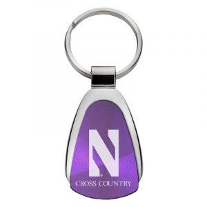 Northwestern University Wildcats Laser Engraved Purple Teardrop Keychain with Stylized N & Cross Country Design