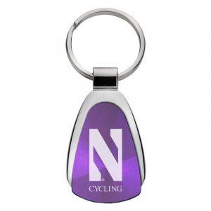 Northwestern University Wildcats Laser Engraved Purple Teardrop Keychain with Stylized N & Cycling Design