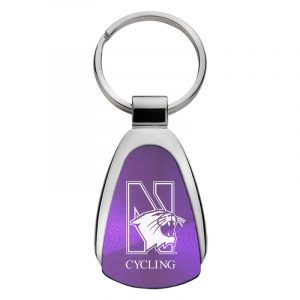 Northwestern University Wildcats Laser Engraved Purple Teardrop Key Chain with N-Cat & Cycling Design