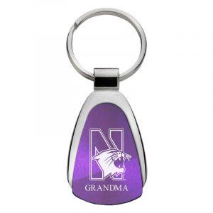 Northwestern University Wildcats Laser Engraved Purple Teardrop Keychain with Mascot & Grandma Design