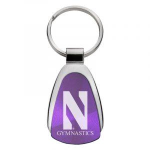 Northwestern University Wildcats Laser Engraved Purple Teardrop Keychain with Stylized N & Gymnastics Design