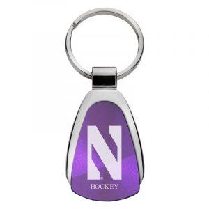 Northwestern University Wildcats Laser Engraved Purple Teardrop Keychain with Stylized N & Hockey Design