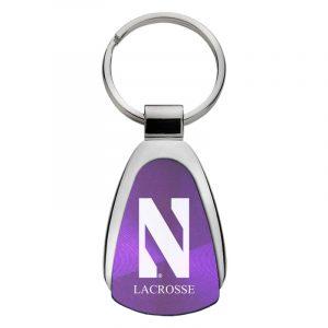 Northwestern University Wildcats Laser Engraved Purple Teardrop Keychain with Stylized N & Lacrosse Design