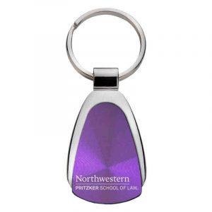 Northwestern University Wildcats Laser Engraved Purple Teardrop Keychain with Law Design