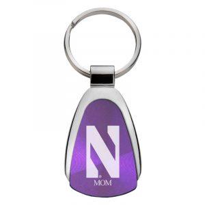 Northwestern University Wildcats Laser Engraved Purple Teardrop Keychain with Stylized N & MOM Design