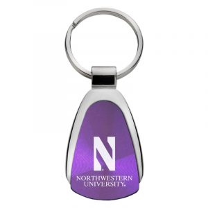 Northwestern University Wildcats Laser Engraved Purple Teardrop Key Chain with Stylized N & Northwestern University Design