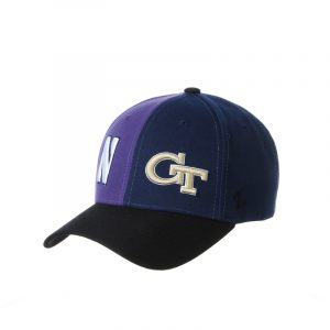 Northwestern University Wildcats House Divided Hat with Georgia Tech Yellow Jackets