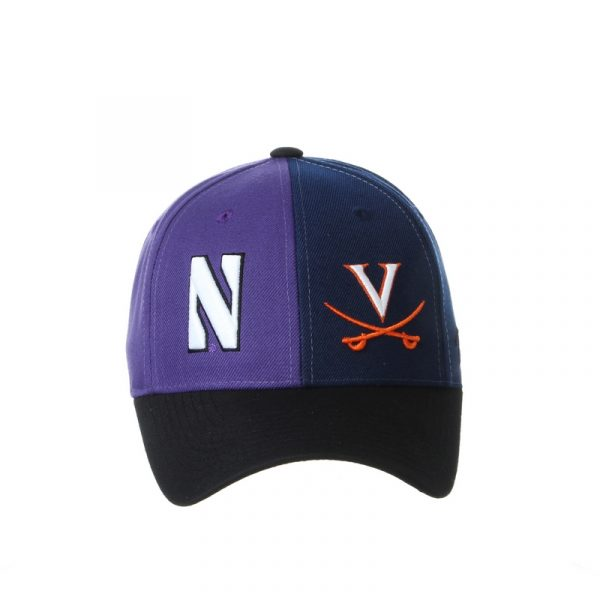 Northwestern University Wildcats House Divided Hat with Virginia Cavaliers-Front