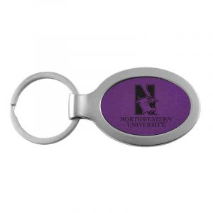 Northwestern University Wildcats Laser Engraved Purple Oval with Metal Border Keychain with N-Cat & Northwestern University Design