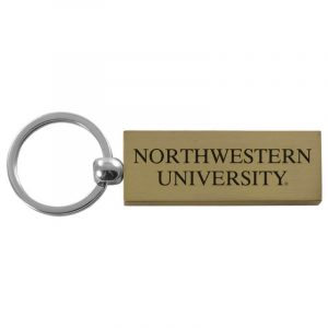 Northwestern University Wildcats Laser Engraved Gold Rectangular Contemporary Metal Keychain with Northwestern University Design