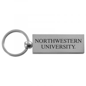 Northwestern University Wildcats Laser Engraved Silver Rectangular Contemporary Metal Keychain with Northwestern University Design