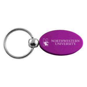 Northwestern University Wildcats Laser Engraved Purple Oval Keychain with N-Cat & Northwestern University Design