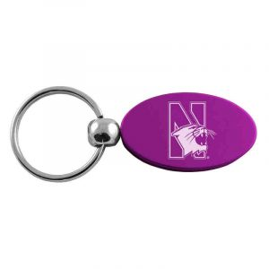 Northwestern University Wildcats Laser Engraved Purple Oval Keychain with N-Cat Design