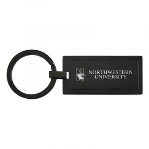 Northwestern University Wildcats Laser Engraved Black Rectangular Keychain with N-Cat & Northwestern University Design