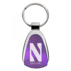 Northwestern University Wildcats Laser Engraved Purple Teardrop Keychain with Stylized N & Sailing Design
