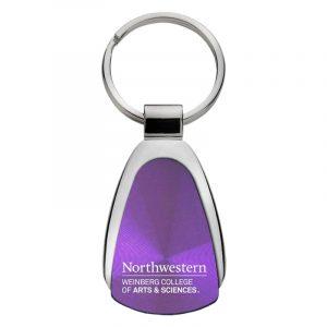 Northwestern University Wildcats Laser Engraved Purple Teardrop Keychain with Weinberg College of Arts & Sciences Design
