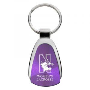 Northwestern University Wildcats Laser Engraved Purple Teardrop Key Chain with N-Cat & Women's Lacrosse Design