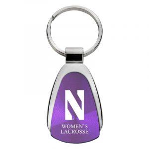 Northwestern University Wildcats Laser Engraved Purple Teardrop Key Chain with Stylized N & Women's Lacrosse Design