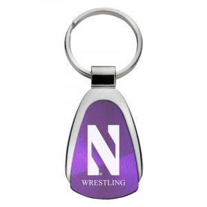 Northwestern University Wildcats Laser Engraved Purple Teardrop Keychain with Stylized N & Wrestling Design