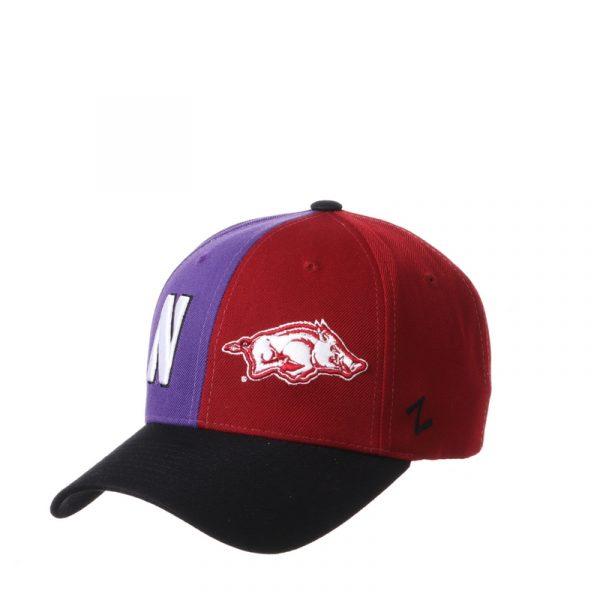 Northwestern University Wildcats House Divided Hat with Arkansas Razorbacks