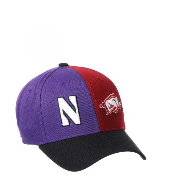 Northwestern University Wildcats House Divided Hat with Arkansas Razorbacks-2