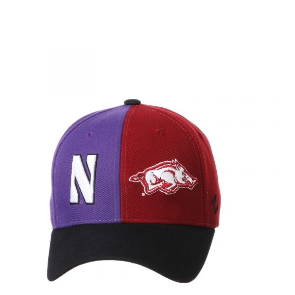 Northwestern University Wildcats House Divided Hat with Arkansas Razorbacks-5