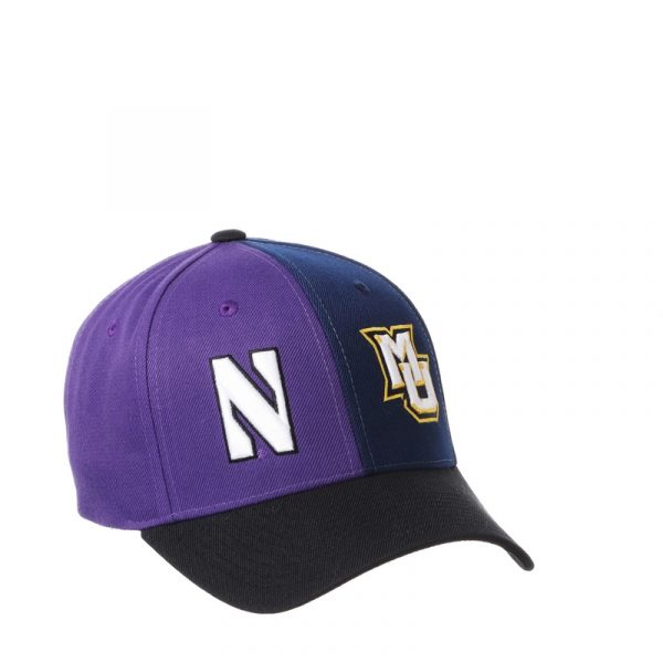 Northwestern University Wildcats House Divided Hat with Marquette Golden Eagles-2